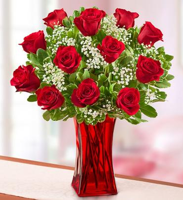 Blooming Love™  Premium Red Roses in Red Vase
