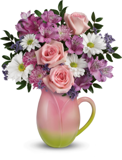 Spring Tulip Pitcher Bouquet